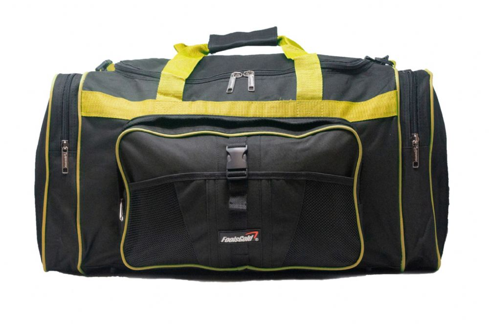 Large 50L foolsGold® Sports Holdall Bag - Black/Yellow